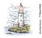 sketch of lighthouse on island... | Shutterstock .eps vector #778664980