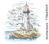 lighthouse on island with rocks ... | Shutterstock .eps vector #778665019