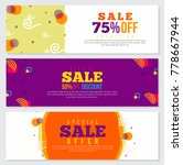 memphis style banners set with... | Shutterstock .eps vector #778667944