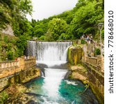 Small photo of NEW ATHOS, ABKHAZIA - JUNE 11, 2017:Dam waterfall in New Athos, Abkhazia