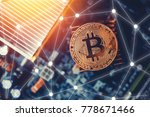 Golden bitcoin on dark background. Concept Blockchain, cryptocurrencies - stock photo