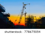 building site and cranes on... | Shutterstock . vector #778675054