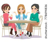 three beautiful young women... | Shutterstock .eps vector #778694836