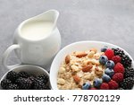 Oatmeal In Bowl With Berries...