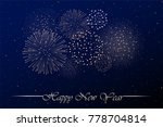 firework show on blue night sky ... | Shutterstock .eps vector #778704814