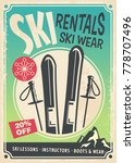 ski rentals retro promo poster... | Shutterstock .eps vector #778707496