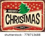 merry christmas vintage sign.... | Shutterstock .eps vector #778713688