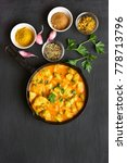 chicken curry on dark stone... | Shutterstock . vector #778713796