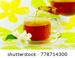 jasmine flowers and tea are... | Shutterstock . vector #778714300