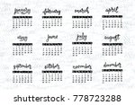 handwritten names of months... | Shutterstock .eps vector #778723288