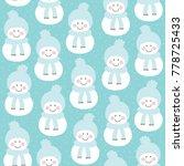 seamless snowman pattern vector ... | Shutterstock .eps vector #778725433