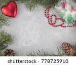 frame made of fir branches with ... | Shutterstock . vector #778725910