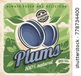 farm fresh organic plums retro... | Shutterstock .eps vector #778734400