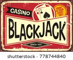 blackjack retro casino sign.... | Shutterstock .eps vector #778744840