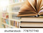 book open in the library | Shutterstock . vector #778757740