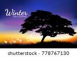 silhouette of tree twilight of... | Shutterstock .eps vector #778767130