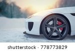 white sport car in the snow. 3d ... | Shutterstock . vector #778773829