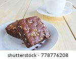 chocolate brownie and hot black ... | Shutterstock . vector #778776208