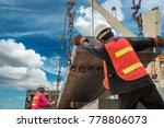 cargo steel slab discharging... | Shutterstock . vector #778806073