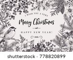 christmas black and white... | Shutterstock .eps vector #778820899