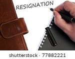 resignation write by male hand | Shutterstock . vector #77882221