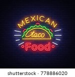taco logo vector. neon sign on... | Shutterstock .eps vector #778886020