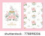 set of romantic greeting cards... | Shutterstock .eps vector #778898206