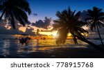 tropical beach on sunset with...   Shutterstock . vector #778915768