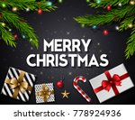 christmas greeting card with... | Shutterstock .eps vector #778924936