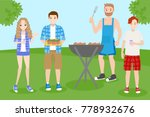 cartoon people on picnic with... | Shutterstock . vector #778932676