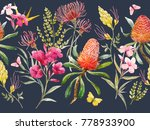 watercolor tropical horizontal... | Shutterstock . vector #778933900