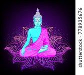 sitting buddha silhouette over... | Shutterstock .eps vector #778935676