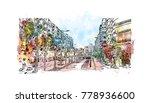 barcelona  spain. watercolor... | Shutterstock .eps vector #778936600