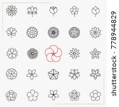 flower line icons set | Shutterstock .eps vector #778944829
