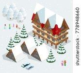 ski resort  slope  people on... | Shutterstock .eps vector #778948660