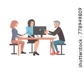 team of three people  two women ...   Shutterstock .eps vector #778949809