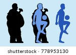 fat and slim man silhouette.... | Shutterstock .eps vector #778953130