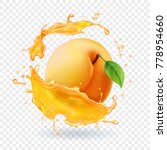 apricot in juice splash.... | Shutterstock .eps vector #778954660