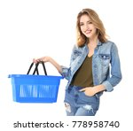young woman with empty shopping ... | Shutterstock . vector #778958740