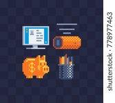 pixel art style set. piggy bank ... | Shutterstock .eps vector #778977463