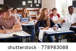 students listening to female... | Shutterstock . vector #778983088