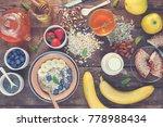 healthy breakfast. conception ... | Shutterstock . vector #778988434
