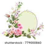 Stock vector round frame with roses spring blossom bloom branches with mauve pink apple tree flowers buds 779000860