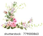Stock vector angled frame with roses spring blossom bloom branches with mauve pink apple tree flowers buds 779000863