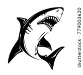 angry black shark vector...