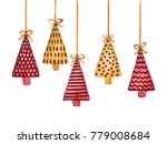 hanging fir tree decorations.... | Shutterstock . vector #779008684