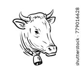 cow with bell  sketch. farm... | Shutterstock .eps vector #779016628
