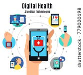 digital healthcare solutions... | Shutterstock .eps vector #779020198