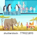 zoo animals 2 horizontal... | Shutterstock .eps vector #779021893
