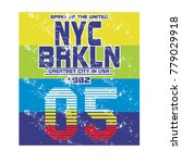 nyc brooklyn  typography t...   Shutterstock .eps vector #779029918
